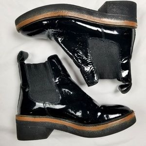 Free people boots chunky shiny black ankle 37